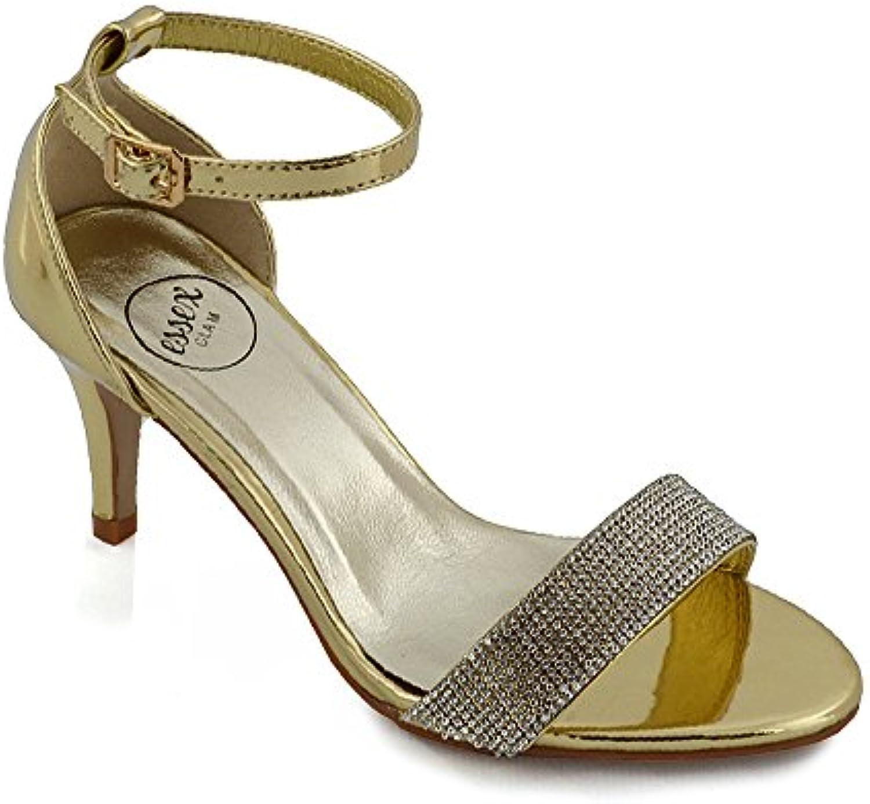 789180947 ESSEX GLAM Womens Party Strap Sandals Low Womens Heel Stiletto ...