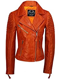 ef66f761497 Xposed Womens Vintage Slim Fitted Soft Real Leather Ladies Biker Jacket UK  Size 6 – 24