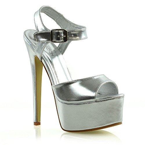 6179fd62ea13 ESSEX GLAM Womens High Heel Platform Sandals Ladies Stiletto Ankle Strap  Prom Party Shoes