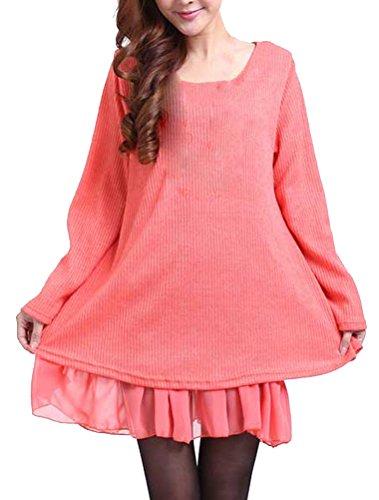 BIUBIONG Pull Femme Robe Mini Robe à Manches Longues pour les Grande Taille de Bowknot avec Mousseline Robe Orange
