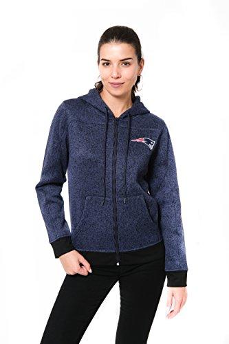 ICER Brands NFL Damen Kapuzenpullover, mit durchgehendem Reißverschluss, Marl Strickjacke, Teamfarbe, Damen, Full Zip Hoodie Sweatshirt Marl Knit Jacket, Team Color, NFL, X-Large - Zip Knit Jumper