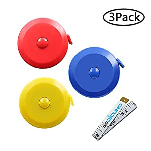 DiCUNO 60-Inch 1.5 Meter Soft and Retractable Tape Body Tailor Sewing Craft Cloth Dieting Measuring Tape (3 Colors ( Blue, Red, Yellow) Package with Soft tape)