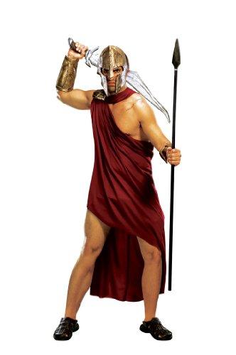 Spartaner Kostüm 300 Cape (300 - Spartaner Deluxe Komplett Film Kostüm Herren 5-tlg Toga Klammer Armstulpen Beinstulpen)