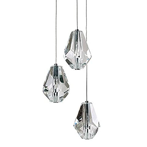 Modern Silver Chrome & Clear Glass Jewel Droplet 3 Way Ceiling Light Fitting