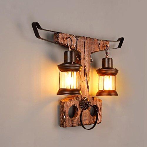 DZW Nordic Rétro Style Industriel Applique Murale En Bois Massif Tête Moulante Lampe Murale Café Restaurant LOFT Lampes Décoratives, Source de Lumière E27 * 1, Taille 65 * 47 cm,Simple