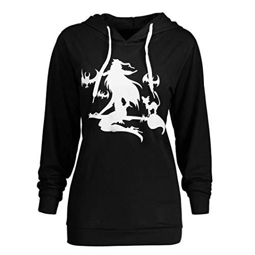 OYSOHE Damen Tops,Langarm Plus Größe Halloween Hexe Print Hoodie Sweatshirt Bluse (Schwarz,M)