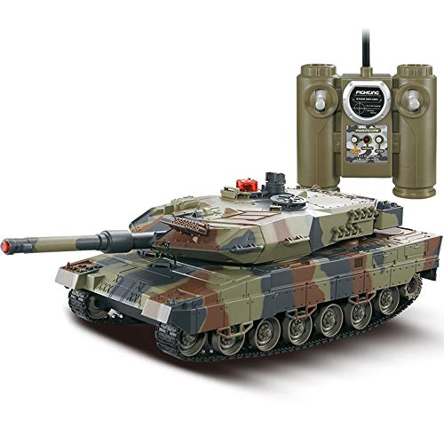 XWEM Fernbedienung, Spielzeugtank 1:24 Simulation gepanzerte Fahrzeug, 300 ° rotierende Revolver automatische Demonstrationsfernbedienung Elektro-Tankwagen,Green - Automatische Tank