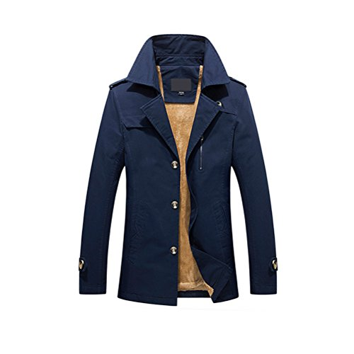 Zhhlaixing Classique Winter Mens Thick Coats Outdoor Warm Jackets Faux Fur Lined blue