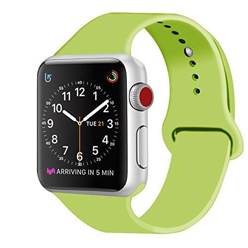 ZRO für Apple Watch Armband, Soft Silikon Ersatz Uhrenarmbänder für 38mm iWatch Serie 3/ Serie 2/ Serie 1, Größe M/L, Grün