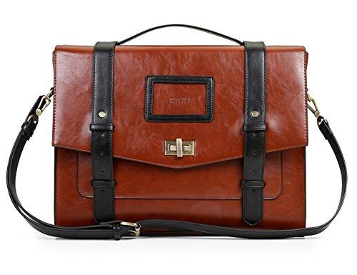 ECOSUSI Borsa Messenger Vintage Donna Borsa a Tracolla per Lavoro Shopping Scuola nero & marrone