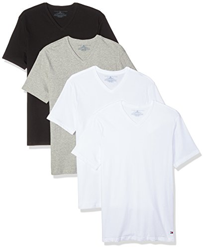 Preisvergleich Produktbild Tommy Hilfiger Men's Undershirts 4 Pack Cotton Classics V-Neck T-Shirts, White/White/Grey Heather/Black, Large