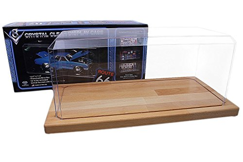 Pioneer Plastics - vitrina de coche modelo fundido a presión, de alta calidad, de acrílico, escala 1/18, con almohadilla adhesiva 3M, en formato XXL para los modelos grandes, con base de madera