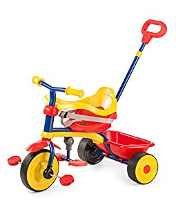 LuvLap Baby Tricycle - Trike T30 with Control Push Bar (Red/Yellow)