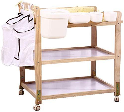 LIANYANG Wickeltisch Falten Portable mit Lagerung,Infant Windel Organizer Kommode Wickelkommode auf Rädern (Naturholz)