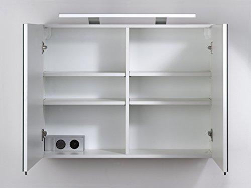 Cavadore 86074 Spiegelschrank Sleek 04 / Eleganter Badezimmerschrank mit Spiegel / inkl. Warmton LED-Beleuchtung & Steckdose / Weiß / Soft Close Funktion / 21 x 80 x 60 cm (T x B x H) -