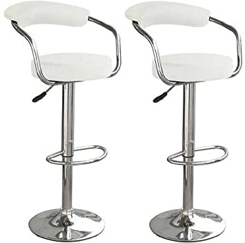 2 x toledo faux leather and chrome bar kitchen stools white amazoncouk kitchen u0026 home - Amazon Bar Stools