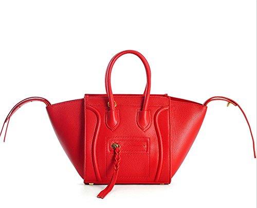 Femmes Classique sac en cuir véritable sac à bandoulière Crossbody Sac Top-poignée sac à main pour dames big red