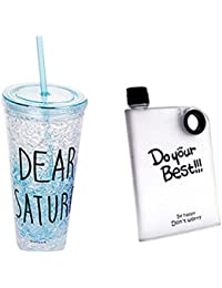 Acrylic Frosty Mason Jar Ice Cup With Strew And Lid Freezing Gel And Portable Notebook Style Ultra Slim Water...