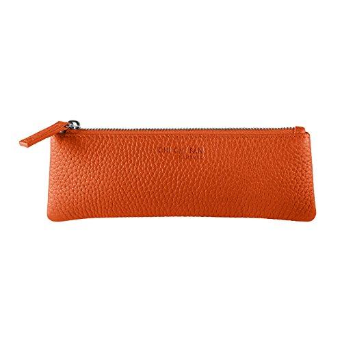 CHI CHI FAN Stifte Etui - Orange | Federmäppchen aus echtem Leder | Top Qualität und Design treffen auf maximale Funktion | Schutz und Ordnung für Schreibutensilien | Passt in jede Tasche