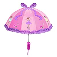 Kidorable Pink Ballerina Umbrella for Girls w/Fun Ballet Dancers, Pop-Out Ribbon, Pointe Shoe Handle