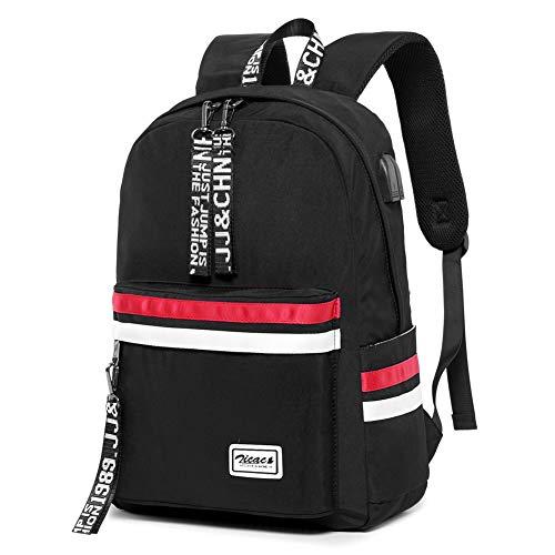 , Schultasche Schulrucksack Mädchen mit USB Casual Daypack Backpack Elegant für Outdoor Reiserucksack Herren Jungen Teenager Laptop-Rucksäcke (Schwarz) ()
