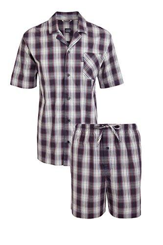 Jockey® Kurzer Schlafanzug, Blau-Rot-Weiß kariert, Größe 5XL