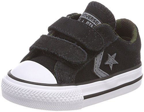 Converse Unisex Baby Star Player EV 2V OX White/Black Hausschuhe, Schwarz (Black/White/Black 001), 21 EU