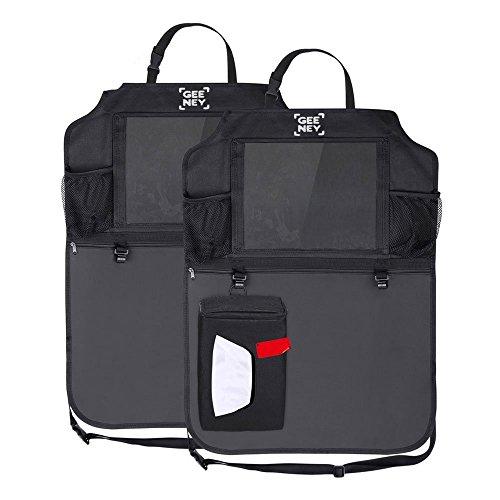 Geeney Auto Rücksitz Organizer, 2PCS KFZ-Organizer mit integrierter iPad/Tablet Halterung 4. Cargo Storage Kick Mats Protectors Travel Kleiderbügel mit Tissue Box für KFZ, SUV, Rumpf, Baby Buggy - Cargo Travel Organizer