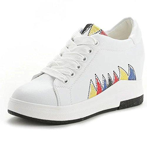 Damen Sneaker Keilabsatz Low Top Hidden Wedges Weiß