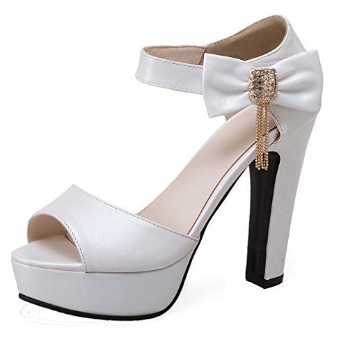 YE Damen Riemchen Peep Dicker High Heel Sandalen mit Schnalle und Schleife Elegant Pumps Schuhe Weiß
