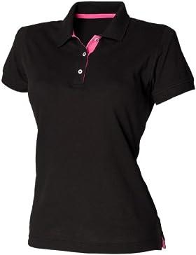 Henbury- Polo ajustado con detalles de diferente color 65/35 para mujer