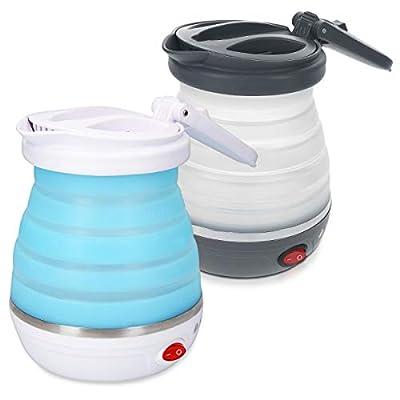 Navaris Bouilloire de voyage - Mini bouilloire pliable électrique en inox sans BPA 750W 0,6 L - Protection contre ébullition à vide et surchauffe