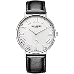 Blenheim London® Kensington Silver Case White Dial Watch with Black Leather Strap