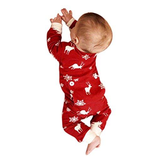 Hirolan Kinderbekleidung Strampler Neugeborene Baby Mädchen Jungen Weihnachten Hirsch Drucken Strampler Lange Ärmel Overall Pyjama Baumwolle Outfits (100, Rot)