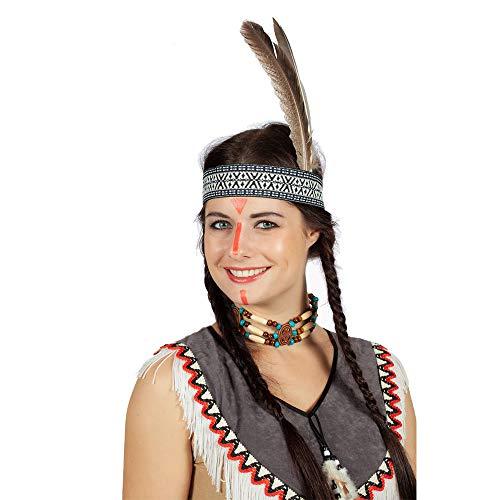 WOOOOZY Indianer-Stirnband mit Feder, beige-blau