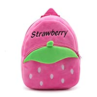 Elonglin Cute Small Toddler Kids Backpack Plush Animal Cartoon Mini Children Bag for Baby Girl Boy Age 1-3 Years Schoolbag for Child Lightweight Strap Rucksack Daypack for Travel Shopping Strawberry
