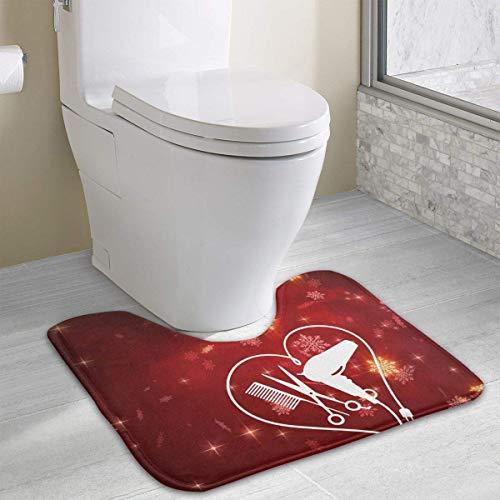 (Hoklcvd Love Hair Stylist U-förmige Toilette Bodenteppich Rutschfeste Toilette Teppiche Badteppiche Teppich)