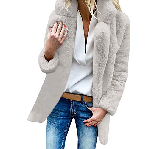IMJONO Würgefrauen Damen Warm Artificial Wool Coat Jacat Jacket Lapel Winter Outerwear (X-Large,Weiß)