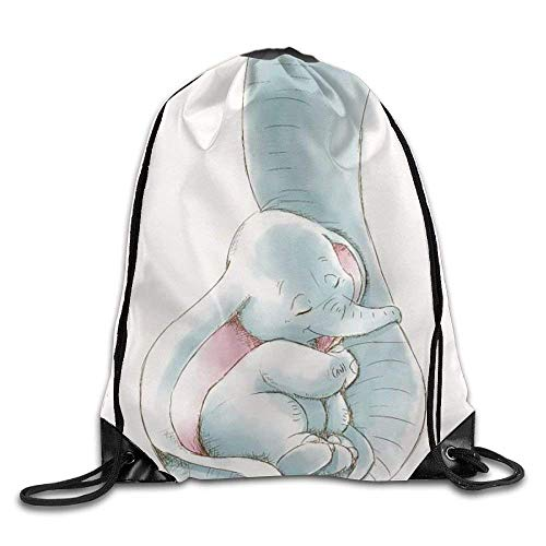 (fengxutongxue Dumbo Being Held by His Mother's Trunk Drawstring Backpack Travel Bag Gym Outdoor Sports Portable Drawstring Beam Port Backpack for Girl Boys Woman Female)