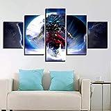 CXDM 5 Stück Wandbilder auf Leinwand Dragon Ball Super Goku Bilder Foto Leinwände drucken Moderne Kunstwerke,A,20×35×220×45×220×55×1