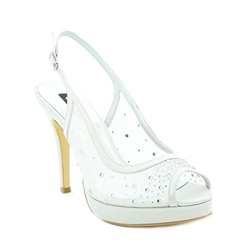 Toocool - Scarpe donna decollete open toe slingback sabot nuove strass Queen Helena S2418 Argento