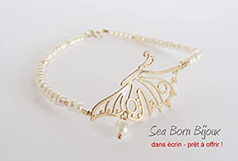 Bracelet - Perles de Culture - Papillon en Forever Gold 18 ct - Or Gold Filled 14 ct - dans Boite Cadeau