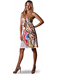 Angela - Robe bandeau buster longueur genoux été pour femmes - 48-50, Multicolore