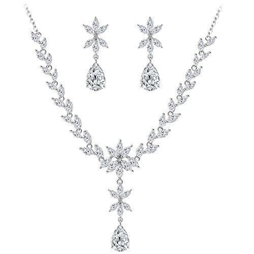 4318dc99afe5 BiBeary Mujer Zirconia nupcial Boda flor lágrima Arete Pendientes Collar  Juegos de joyas Set claro