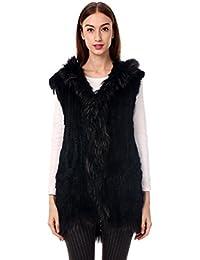 463ba6a87cbe95 Ferand ärmellose Lange Damen Weste Jacke mit Kapuze aus gestricktem  Kaninchen Pelz mit…