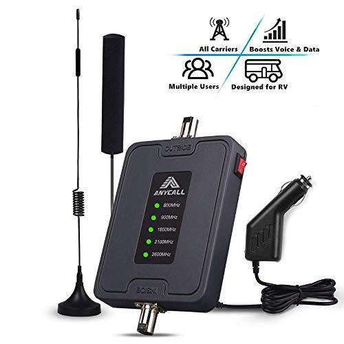 ANYCALL 5-Bande Kit Amplificateur de Signal Mobile, Ampli Appels Vocaux Data 4G/3G/2G, GSM UMTS LTE Répéteur 800/900/1800/2100/2600MHz Booster, pour Multi opérateurs, pour Voiture/Camion/Bateau/VR