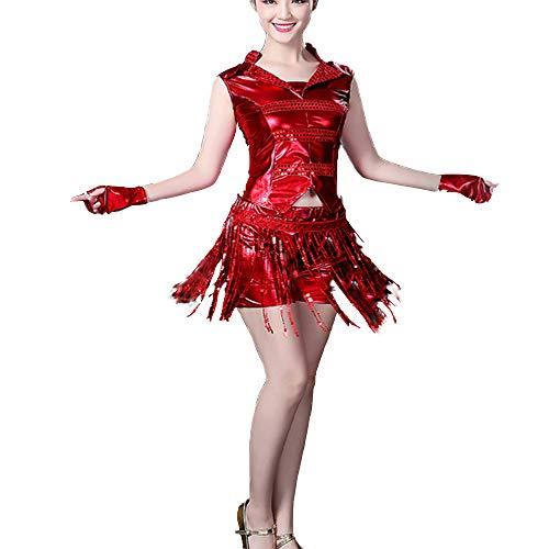 SCYTSD Mode sexy modern Jazz Dance kostüm Tanz Rock Square Dance Dance kostüm gesetzt,Red,XXXL