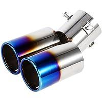 Tuyau d'Echappement Voiture Silencieux Embout Double Sortie Universel en Acier Inoxydable Diamètre 38mm à 53mm