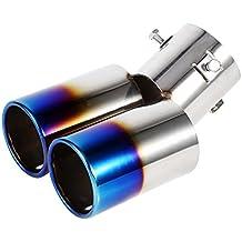 Vgeby - Tubo di scappamento universale a doppia uscita per auto, in acciaio inox, diametro da 38mm a 53mm