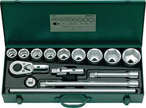 STAHLWILLE Steckschlüsselsatz 55/9/6N, 3/4 Zoll, SW 32-60mm, Zähne 36 6K, 15Tlg